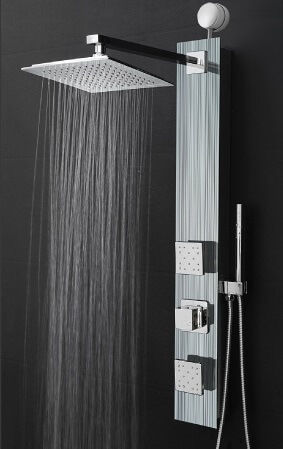 Perfetto Kitchen and Bath 35 Easy Connect Wall Mount Tempered Glass Made Rainfall Style