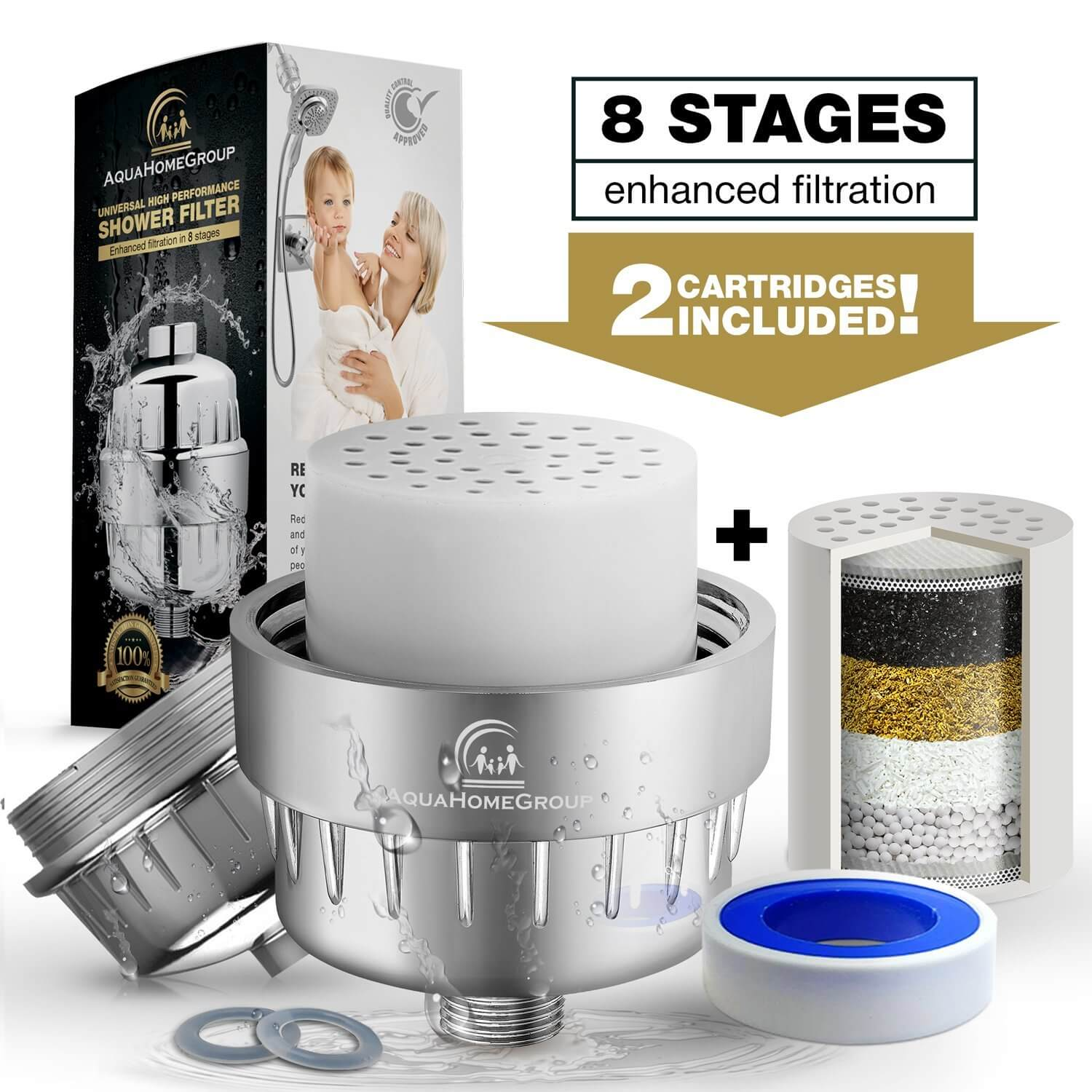 AquaHomeGroup Universal 8-Stage Water Shower Filter (Chrome) – High-Pressure Output for Overhead,