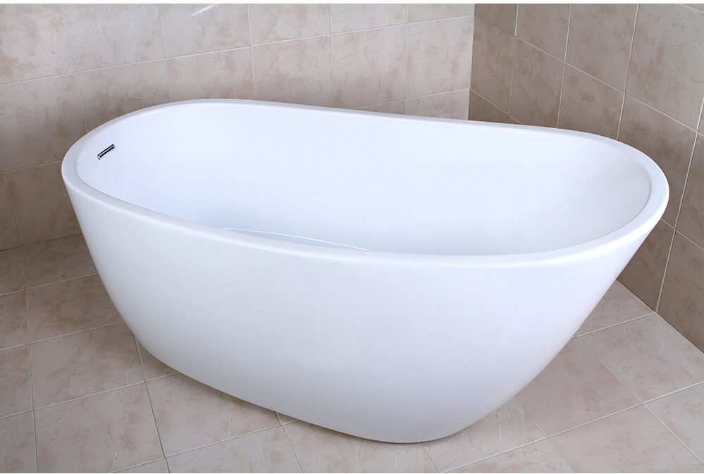 KINGSTON BRASS VTRS592928 59 Inch Contemporary Freestanding Acrylic Bathtub.  U003eu003e