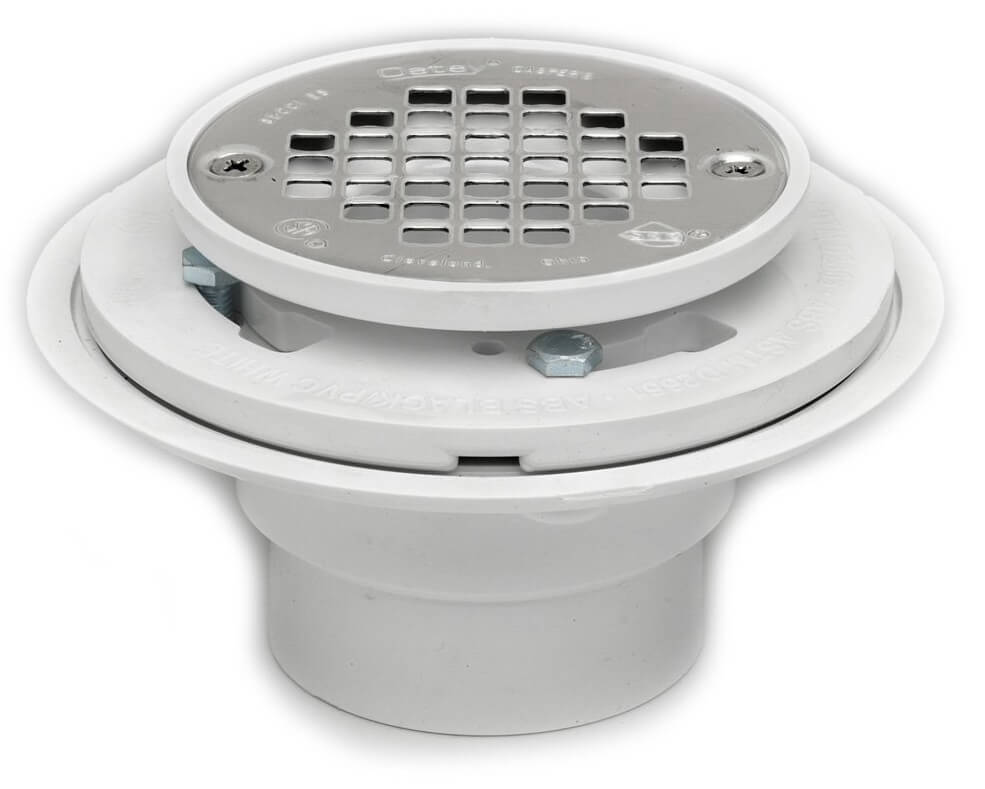 Oatey 42213 PVC Drain with Stainless Steel Strainer for Tile Shower Bases