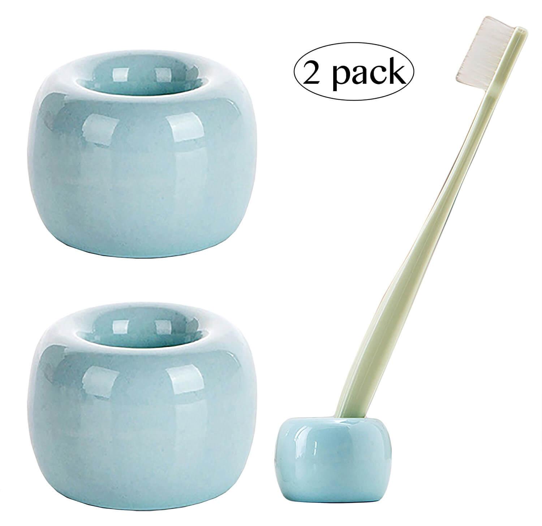 Airmoon Mini Ceramics Handmade Couple Toothbrush Holder Stand