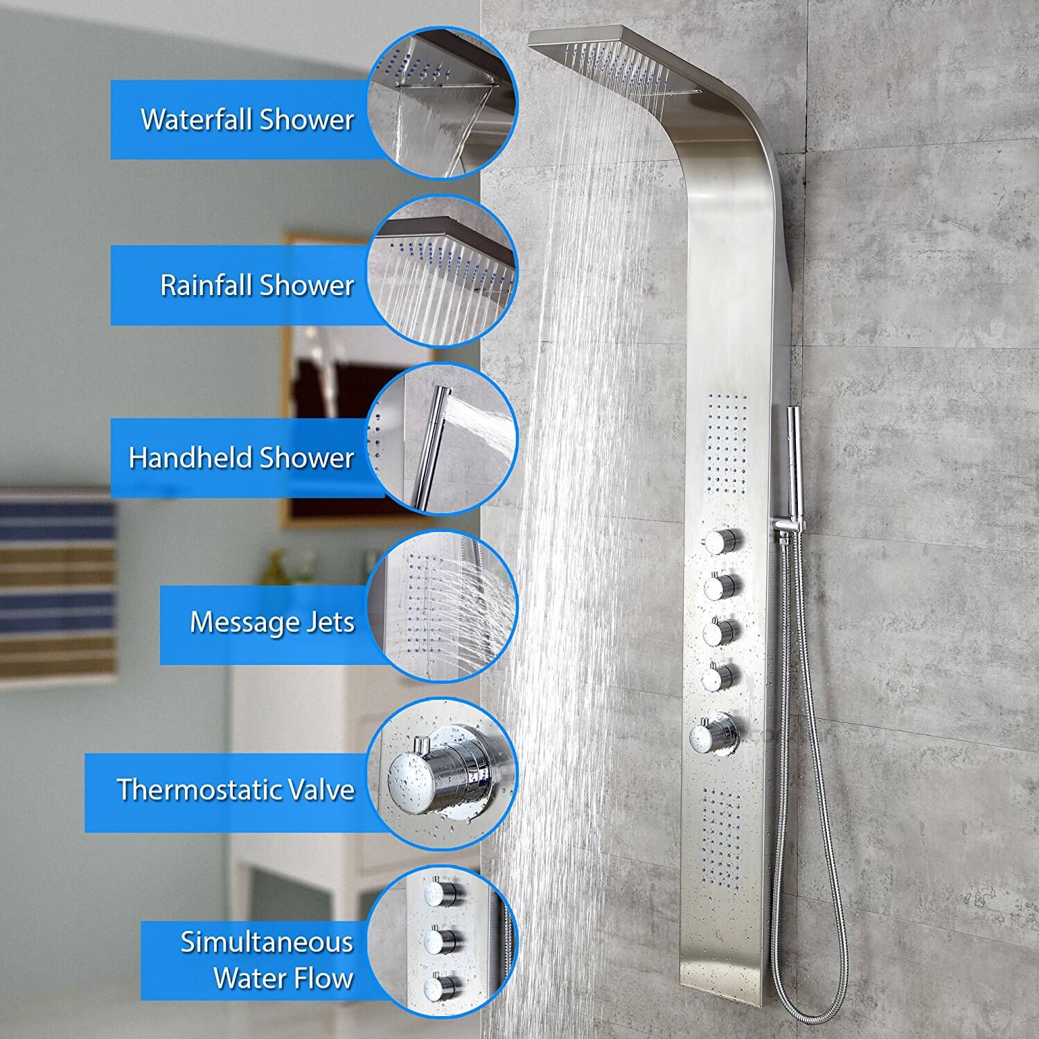 "Decor Star 004-SS 63"" Stainless Steel Rainfall Waterfall Shower Panel"