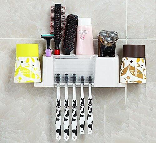 Home-organizer Tech Wall Mounted Toothbrush Holder Bathroom Storage Organizer Set Toothbrush Holder