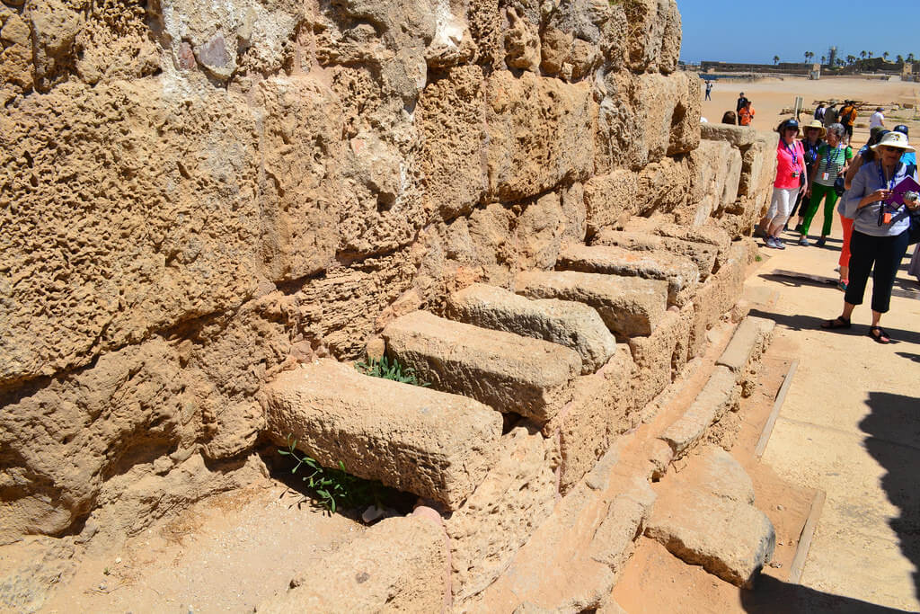 King Herod's Hippodrome toilet in Caesarea made of stones and rocks to show the Toilet Facts