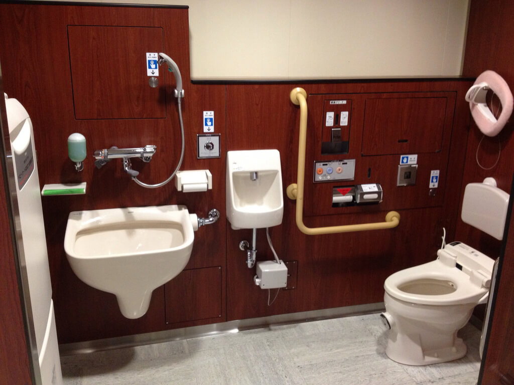 Multi-function toilet inside a commercial space in Japan to show the Functions and Toilet Facts