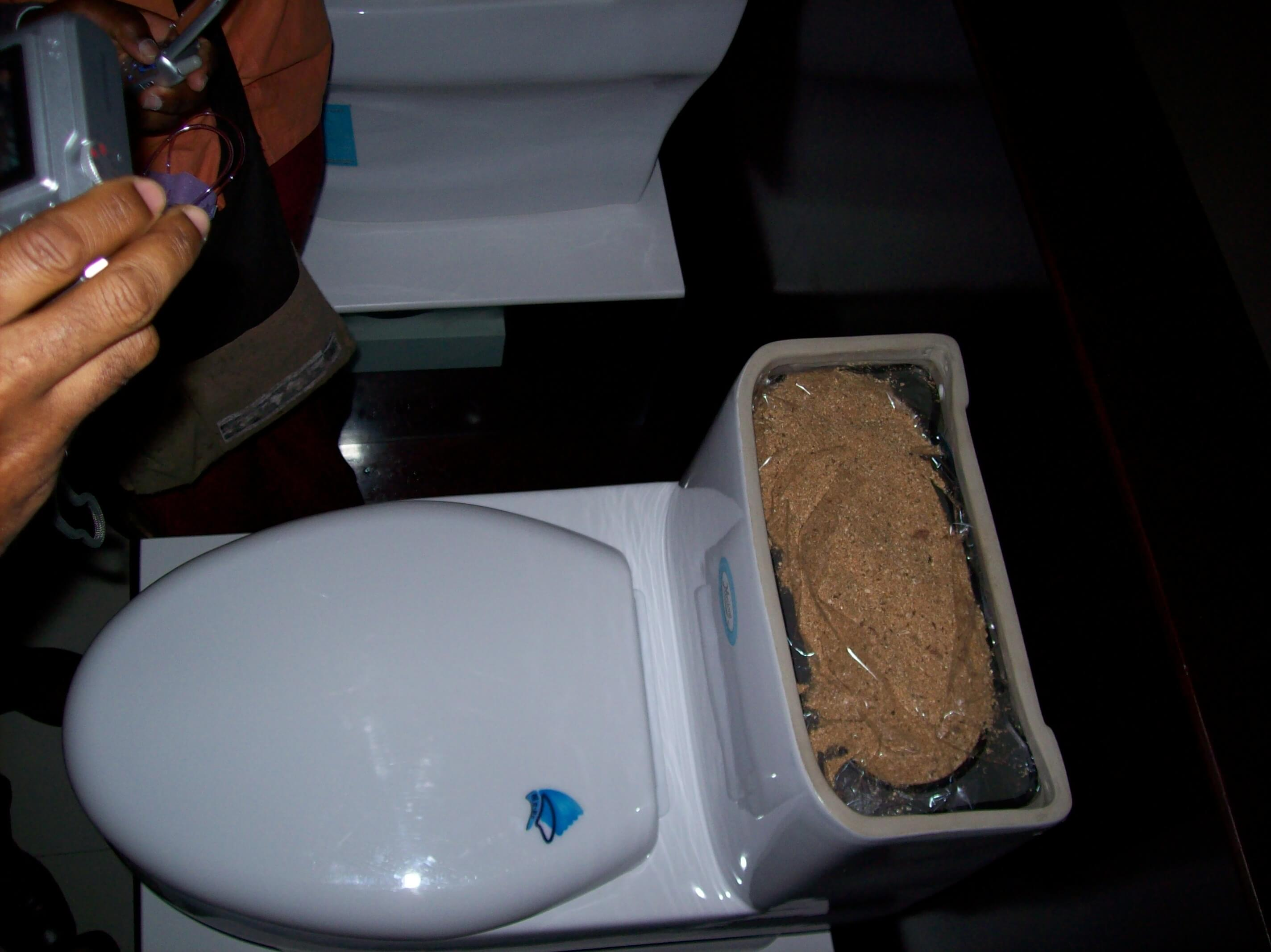 Composting toilet with external composting using wood chip dispenser