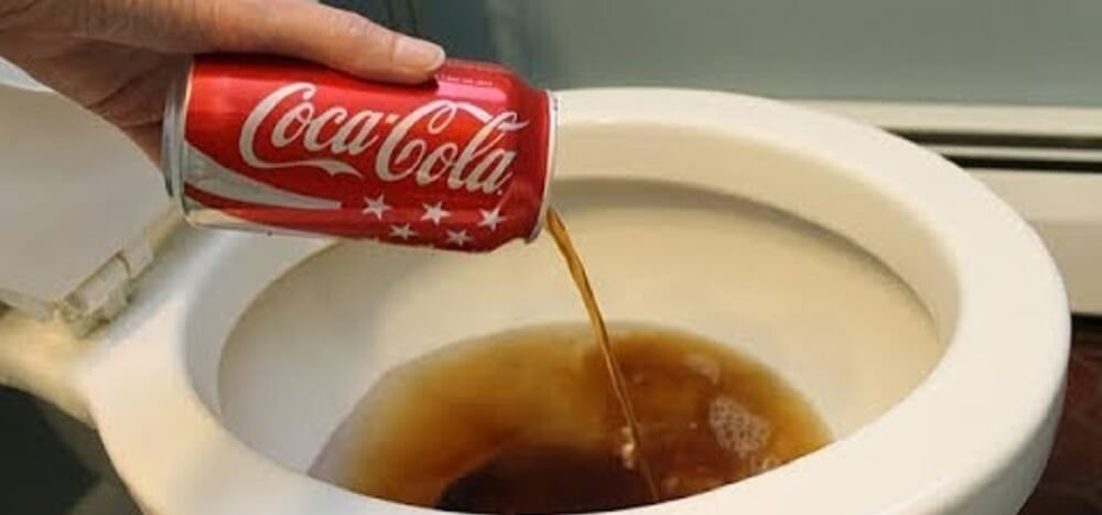 bathroom cleaning hacks - Use Cola to Clean the Toilet Bowl