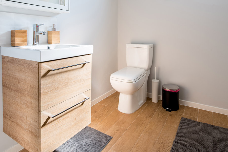 Bathroom with a clean toilet