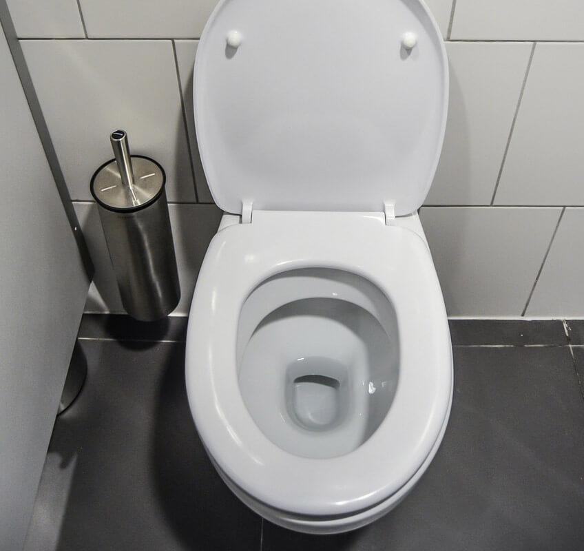 Cleaned white toilet bowl