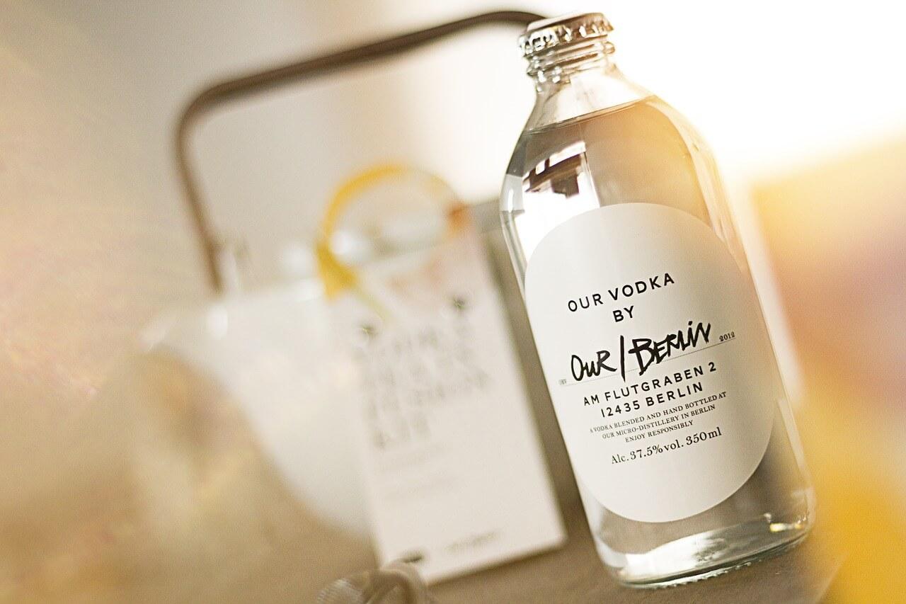 A bottle of Vodka in blury background