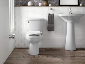 Kohler cimarron toilet installed on a bathroom