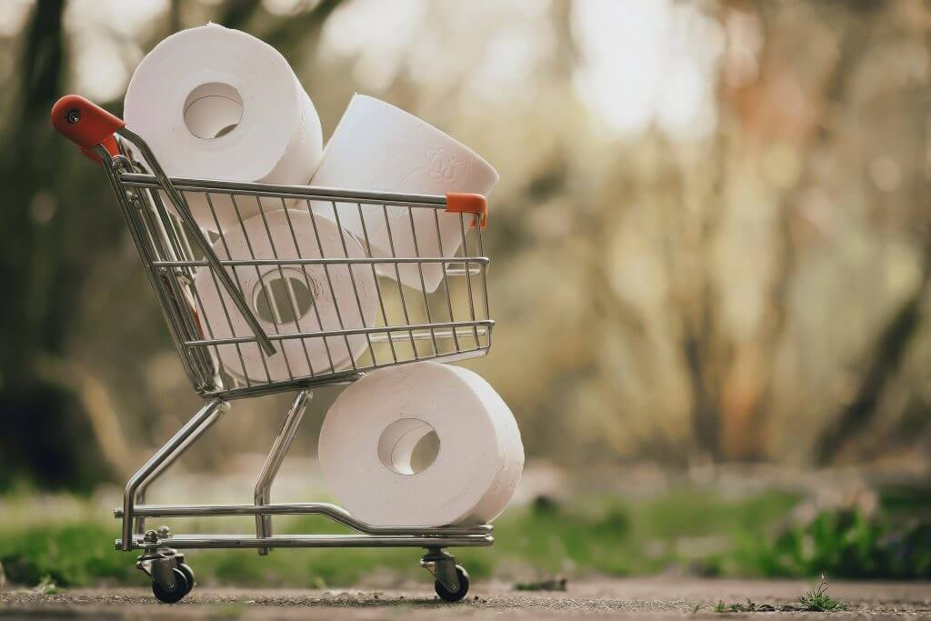 Toilet paper in miniature shopping cart -- You won't have to shop for toilet paper with a Bio Bidet